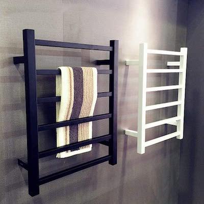 Toallero eléctrico negro, Calentador de toallas de lujo
